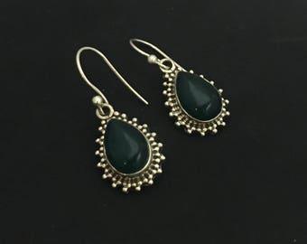 Green Tear-shaped Sterling Silver Earrings