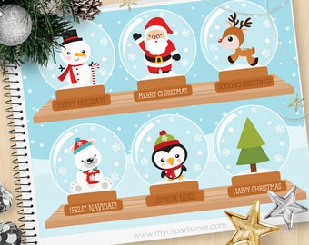 Clipart - Christmas Snowglobes / Snowman / Penguin / Santa - Digital Clip Art (Instant Download)