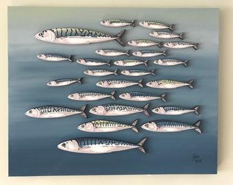 Mackerel Shoal Painting on Canvas - 3D Mixed Media