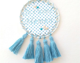 "Customizable name, dream catcher, wall decor, decorative tassels, mothers day, ""I love you MOM"""
