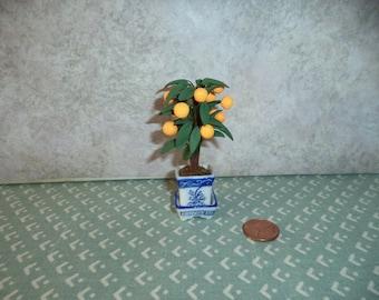 1:12 scale Dollhouse miniature or fairy garden potted Orange tree