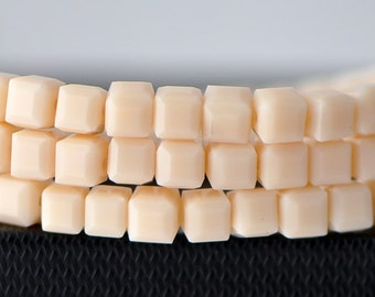 Glass Crystal Cube 6mm Opaque Beige Faceted  Beads -FZ0621 / 95pcs