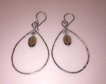 Sterling silver hammered tear drop hoops with faceted smokey topaz