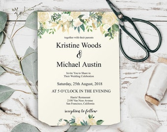Floral Wedding Invitation Template, Floral Wedding Invitation Printable, Floral Wedding Invite, Rustic Wedding Invitation, DIY Wedding, 6034