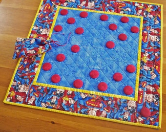 Superman Checkers Game Quilted Gift for Kids | Man of Steel Checkerboard Game Kids Party Activity | Superhero Family Game Night Board Game
