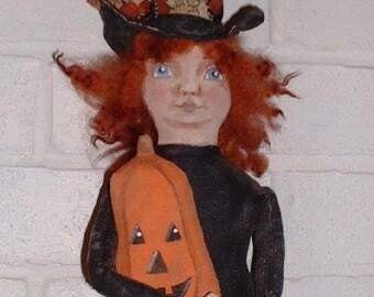 Primitive Folk Art Halloween Witchee Witch Doll Instant Download PDF EPattern