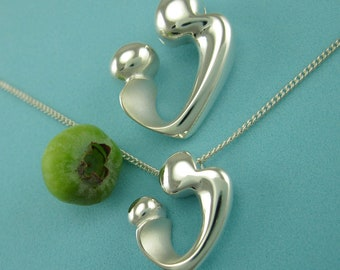 Sterling Mother Child Necklace, Mother's Present, 'Heart Embrace' Pendant with Chain, Motherhood Gifts, from our Mère et Enfant Collection