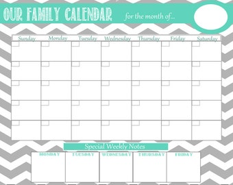 Personalized Chevron Dry Erase Family Calendar With Weekly Notes