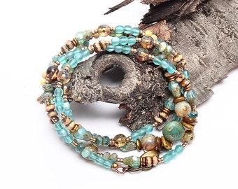 Aqua Cream Beaded Necklace, Beaded Boho Wrap Bracelet, Summer Fashion