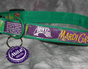 """Adjustable Dog Collar from recycled Abita Mardi Gras Bock Beer Labels with """"Bling"""""""