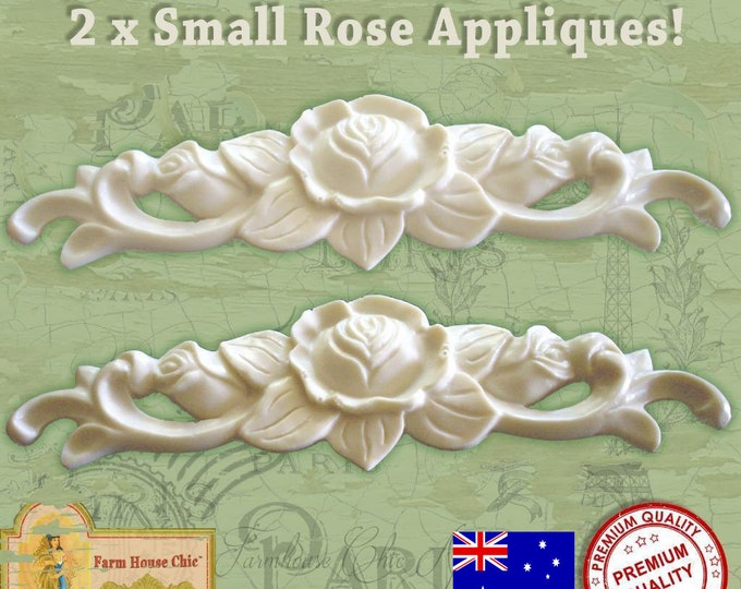 2 x Shabby Chic French Furniture Applique Small Rose Furniture Mouldings Furniture Decorations Onlays Resin Wood Carvings. Made in Australia