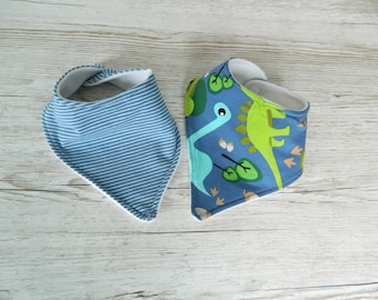 Dino & Striped Dribble Bibs - Hand Made Jersey and Fleece Bandana Bibs - Gift Set