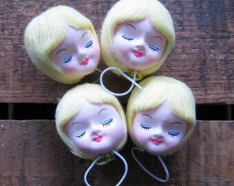 Vintage 1960's Pose Doll Head - Blonde - Craft, Supplies