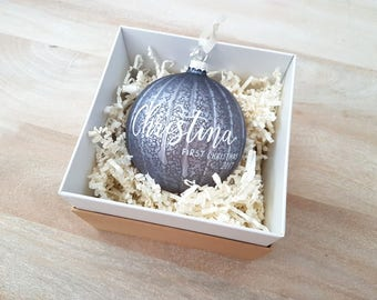 Personalized BABY'S FIRST CHRISTMAS Ornament gift with calligraphy - One (Purple Ornament, Glass)