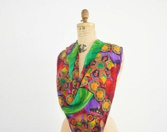 Vintage Oscar de la Renta silk scarf large 34 by 34