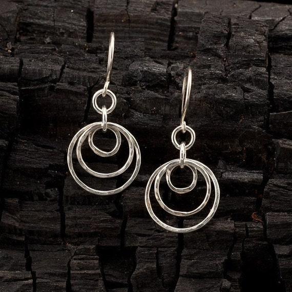 "Handmade Sterling Silver Earrings- Hammered Silver Hoop Earrings- Dangle Earrings- Modern Silver Jewelry - ""Circle Trio"""