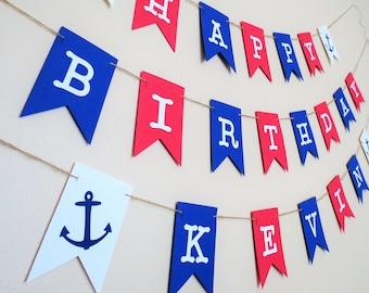 Nautical Birthday Banner - Personalized Birthday Banner - Nautical Decor - Party Decor