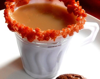 CARAMEL CREAM, Coffee MUGS, Rock Sugar, Candy Rimmed, Delicious Mugs, Candied Cups, Sweeten Drinks,, Party Cups, Disposable 12 (8 oz)