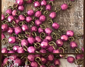 Chain Handcrafted USA Linked Beaded Chain pomegranate 4mm Faceted European Glass Beads