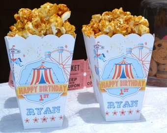 Circus Popcorn Boxes | Carnival Birthday Party | Carnival Popcorn Boxes | Favor Boxes | Boys Circus Birthday | Pink Circus Tent | Bar