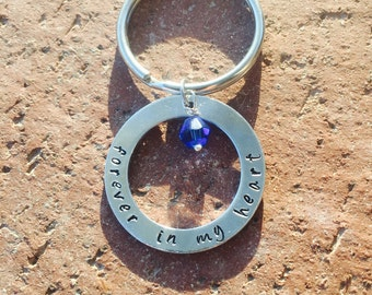 Forever In My Heart Keychain, Memory Keychain, Handstamped Keychain, Sympthay Keychain, Personalized Keychain
