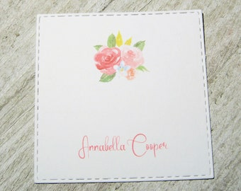 Pink Floral Personalized Enclosure Cards - Gift Enclosure Card - Calling Cards - Set of 24 - Trending - Flat - One sided - Embossed