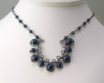 Silver Metalwork Pendant with Navy Blue Crystal Pearls, Deep Midnight Pearls and Antiqued Silver, Rustic Filagree Necklace with Silver Chain
