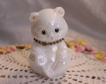 Vintage Fenton Glass Bear Figurine with Rhinestone necklace, Milk glass with a pearly iridescent sheen Signed T. Gaskins