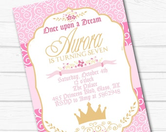"Diy Personalized ""Sleeping Princess"" Aurora Beauty Birthday Party Digital Printable 4""x6"" or 5""x7"" Invitation"