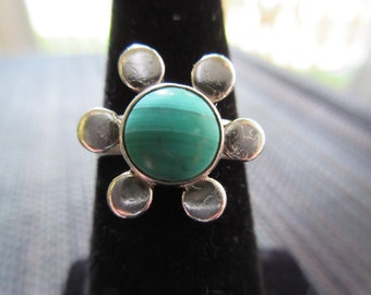 Vintage Sterling Silver Green Turquoise Flower Ring - 5.5