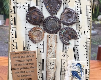 "BEER CAP FLOWER - ""There came a time"" - Mixed Media Assemblage on Salvaged Wood"