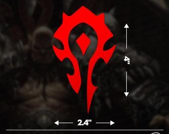 "World of Warcraft Horde Faction Logo 4""x2.4"" Vinyl Decal"