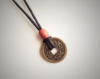 Chinese coin etsy chinese coin necklace chocker necklace chinese feng shui wealth lucky coin charm pendant necklace mozeypictures Choice Image