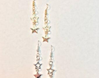Silver or Gold Earrings • Star Dangle Earrings