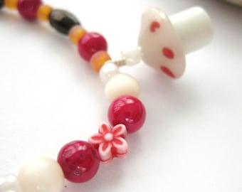 Girls Bracelet with mushroom pendant and flowers, Medium, GB 165