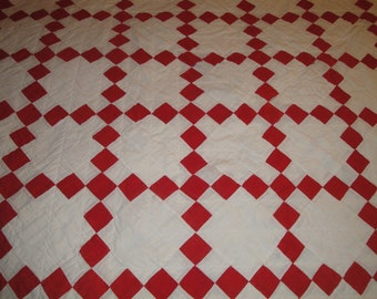 Old Quilt | Antique Quilt | VIntage Quilt | Red And White Quilt | 9 Patch Vintage Red Quilt |  Primitive Handmade Quilt | NOT PERFECT