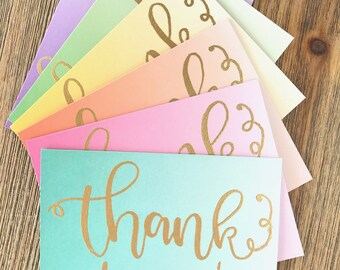ThankYou Card Set of 12 - Greeting Card - Thanks - Thank-Yous -Thank You Notes - Card Set - Ombre - Gradient - Modern - Calligraphy Card