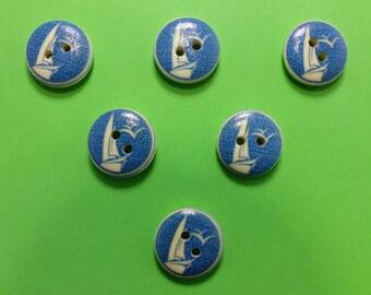 SET of 6 wood buttons: theme Starfish motif sailboat (06) 15mm round
