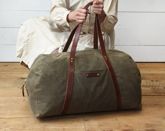 Waxed Canvas Weekender Bag, Truffle, Waxed Canvas Bag, Overnight Bag, Luggage & Travel Bag, Canvas Duffle Bag, Travel Bag, Gift for Him