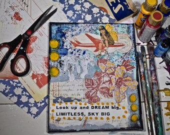 Look Up And Dream Big, Limitless, Sky Big 8x10 Matted Print Mixed Media
