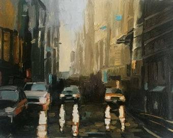Original Abstract Painting New York Landscape Rain Fog Urban Street Cars City Lights Contemporary Art - Cityscape landscape Night Painting