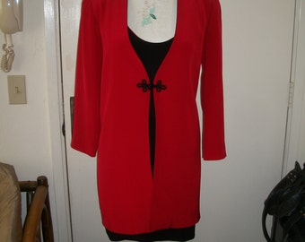 Vintage 1980's Red Silk Coat And Dress Set By Silvia Hine...Wiggle Dress Is Reversible....Red Or Black...Size 8....Excel Cond.