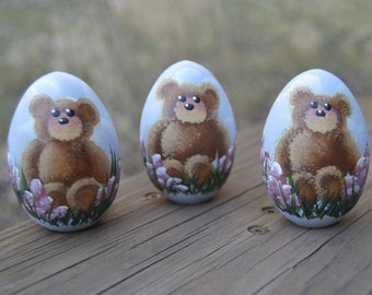 Teddy Bear Egg, Hand Painted Wooden Egg