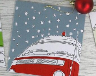 Illustrated campervan card 'Snowed in'