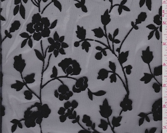 Navy Flocked Floral Mesh, Fabric By The Yard