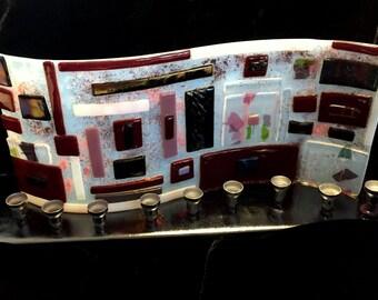 Fused glass menorah M11