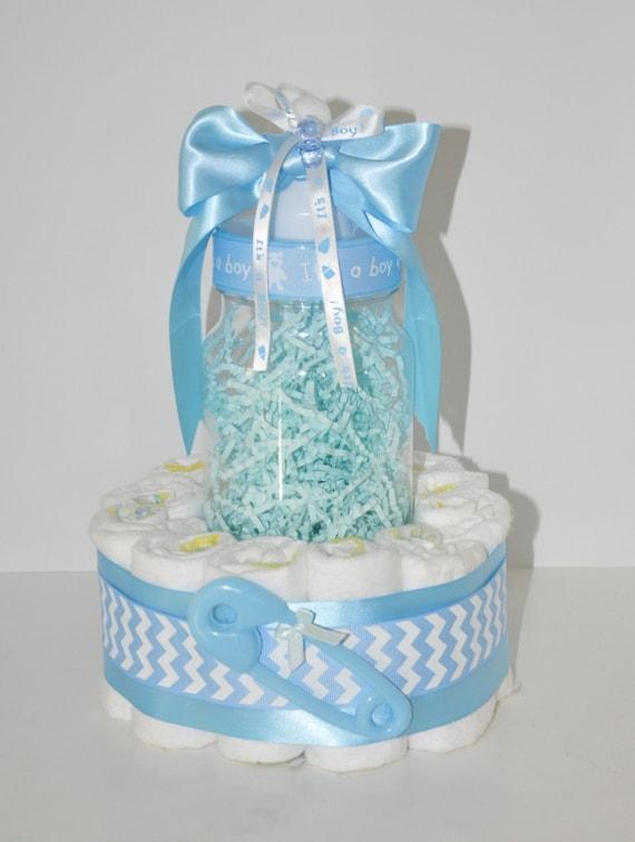 Superior Baby Boy Baby Shower Centerpiece Chevron Diaper Cake W/ Big
