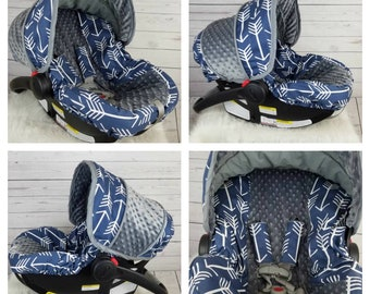 Baby Boy car seat cover set Navy & Arrows  Tribal Baby cover, Baby boy slipcover - Custom by Baby Seat Covers By Jill-free strap covers