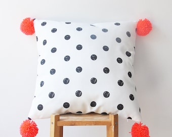 Pompom Pillow Cover, Decorative Pillows, Throw Pillow, Cushion, Kids Pillow Cover, Nursery Decor, Pillow Cover 16x16