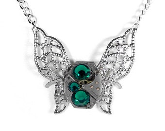 Steampunk Jewelry Necklace Watch Silver Filigree BUTTERFLY EMERALD Crystals CUSToM COLORS Bridesmaids Gift, Holiday Gift - SteampunkBoutique